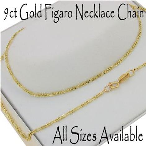 9CT YELLOW GOLD CURB FIGARO NECKLACE CHAIN