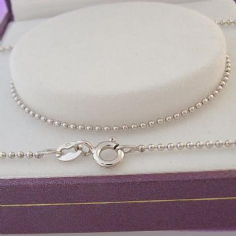 9CT WHITE GOLD 1.2mm BALL CHAIN NECKLACE 45CM