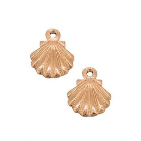 9CT ROSE GOLD PAIR 9mm SHELL CHARMS for SLEEPER EARRINGS