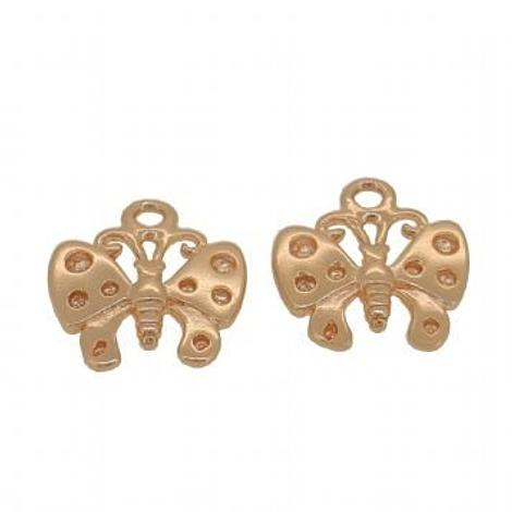 9CT ROSE GOLD TWO 11mm BUTTERFLY for SLEEPER EARRING CHARMS