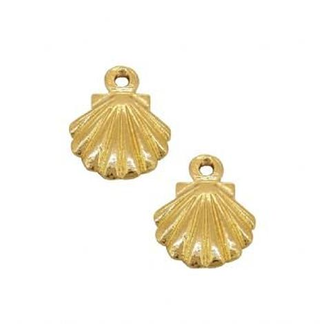 9CT GOLD PAIR 9mm SHELL CHARMS for SLEEPER EARRINGS