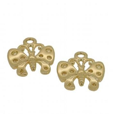 9CT GOLD TWO 11mm BUTTERFLY for SLEEPER EARRING CHARMS