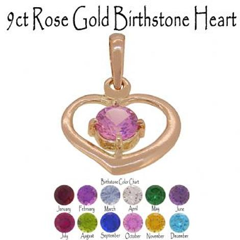 9CT ROSE GOLD 15mm HEART BIRTHSTONE CHARM PENDANT
