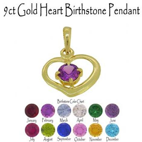 9CT GOLD 15mm HEART BIRTHSTONE CHARM PENDANT