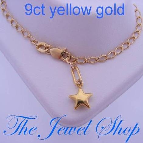 9CT YELLOW GOLD 17cm ADJUST SIZE 7mm STAR CHARM CURB BRACELET