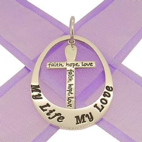 STERLING SILVER 27mm OVAL PERSONALISED FAITH HOPE LOVE CROSS FAMILY NAME PENDANT -27mm-FHL-jr-ss