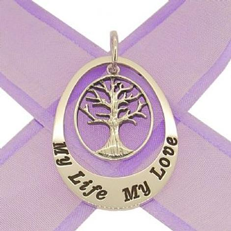 STERLING SILVER 27mm OVAL PERSONALISED FAMILY TREE of LIFE NAME PENDANT -27mm-KB-jr-ss