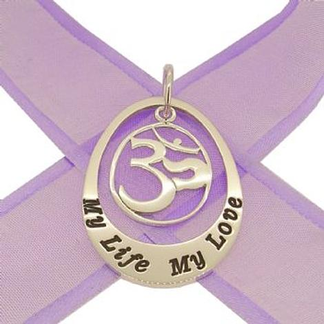 STERLING SILVER 27mm OVAL PERSONALISED OM FAMILY NAME PENDANT -27mm-Om-jr-ss