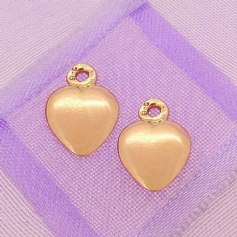 9CT ROSE GOLD 8mm HEART TWO LOVE HEARTS for SLEEPER EARRING CHARMS