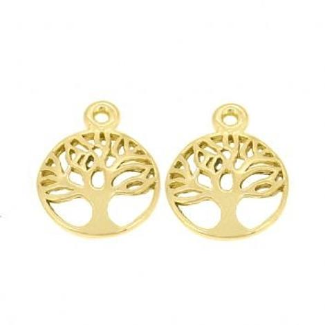 9CT GOLD 12mm TREE OF LIFE TWO CHARMS for SLEEPER EARRINGS