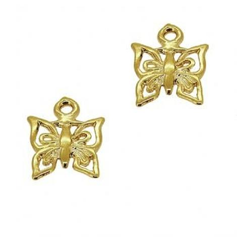9CT GOLD TWO BUTTERFLY CHARMS for SLEEPER EARRINGS
