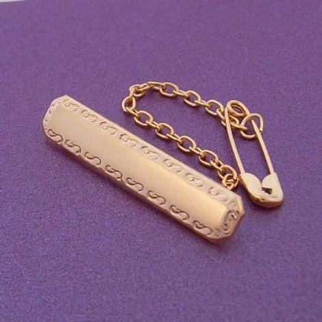 9CT YELLOW GOLD RECTANGLE IDENTITY NAME BABY BROOCH