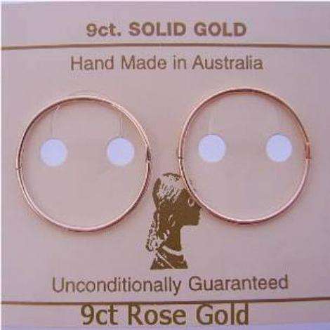 SOLID 9CT ROSE GOLD TRADITIONAL HINGED LARGE 20mm SLEEPER EARRINGS