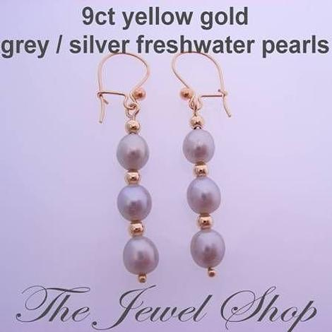 9CT YELLOW GOLD GREY FRESHWATER PEARLS 9CT SAFETY HOOK DESIGNER EARRINGS