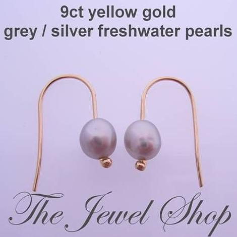 9CT YELLOW GOLD 6mm x 4mm GREY FRESHWATER PEARL HOOK DESIGNER EARRINGS