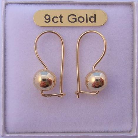 9CT GOLD 6MM EUROBALL EARRINGS