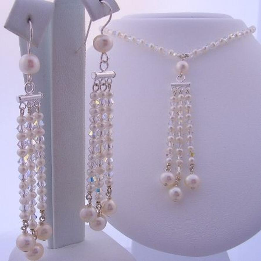 STERLING SILVER CHANDELIER SWAROVSKI CRYSTAL & FRESHWATER PEARL EARRING AND NECKLACE SET
