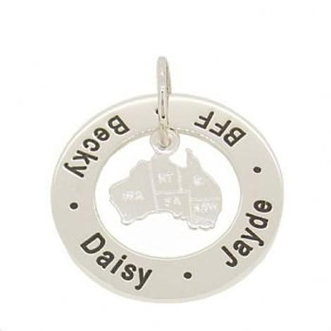 STERLING SILVER 28mm CIRCLE OF LIFE MAP AUSTRALIA PERSONALISED NAME MESSAGE PENDANT