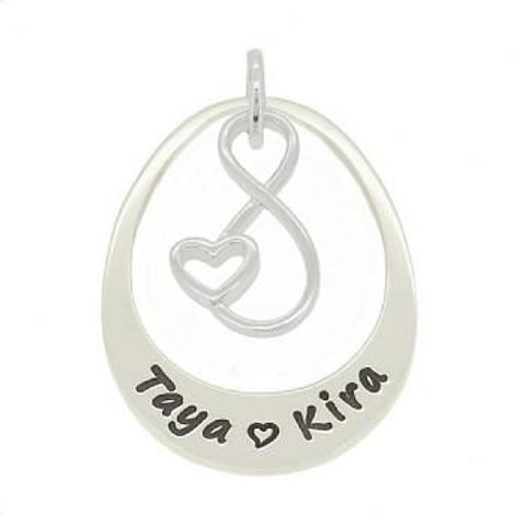 STERLING SILVER 27mm OVAL PERSONALISED INFINITE LOVE INFINITY NAME PENDANT