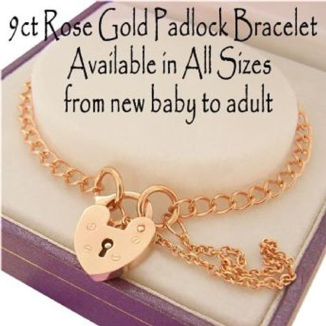 9CT ROSE GOLD 2.8mm CURB PADLOCK BRACELET Available in all Sizes