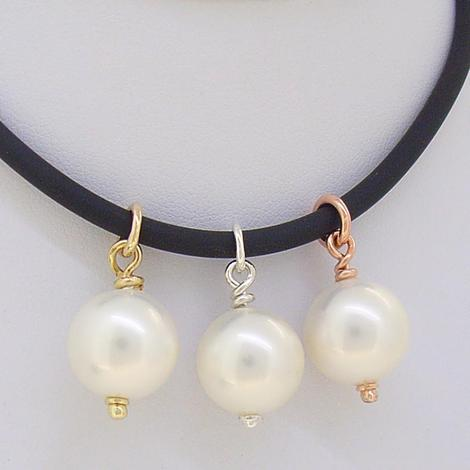 9CT ROSE GOLD 12mm SHELL PEARL LEATHER NECKLACE