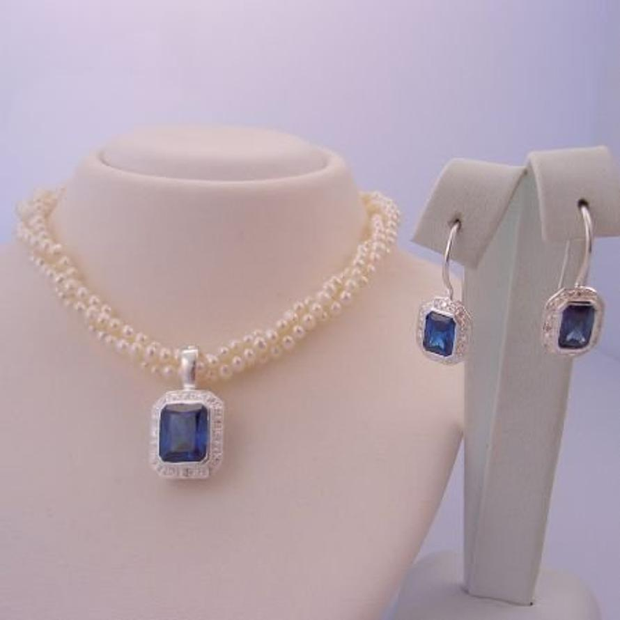 STERLING SILVER FRESHWATER PEARL 3 STRAND TWISTED NECKLACE with STERLING SILVER CEYLON SAPPHIRE CZ PEARL ENHANCER & EARRINGS