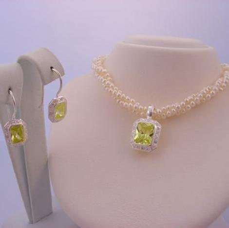 STERLING SILVER FRESHWATER PEARL 3 STRAND TWISTED NECKLACE with STERLING SILVER PERIDOT GREEN CZ PEARL ENHANCER & EARRINGS