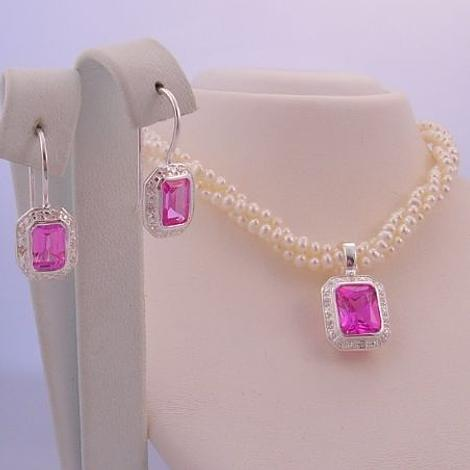 STERLING SILVER FRESHWATER PEARL 3 STRAND TWISTED NECKLACE with STERLING SILVER PINK CZ PEARL ENHANCER & EARRINGS