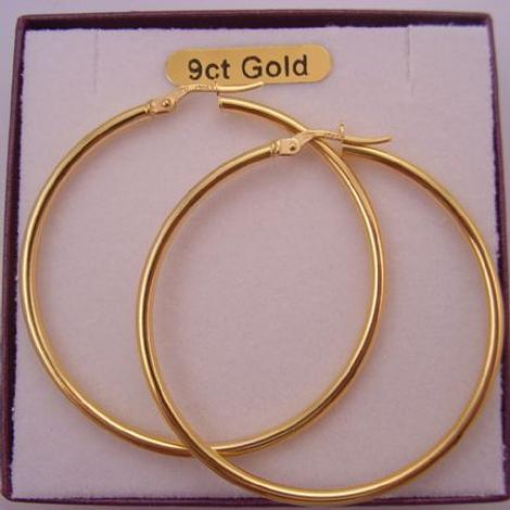 9CT YELLOW GOLD 44mm WIDE GYPSY HOOP EARRINGS