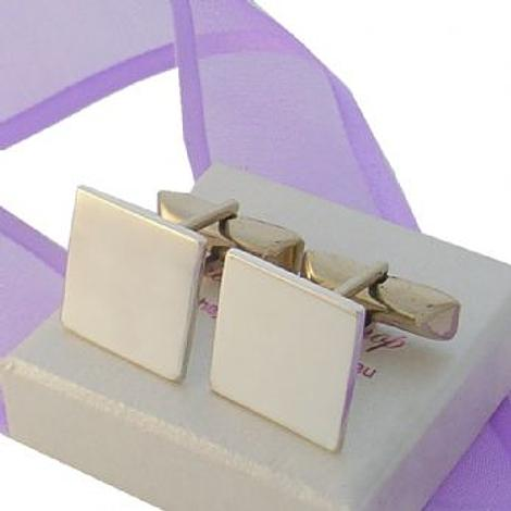STERLING SILVER 16mm SQUARE PERSONALISED CUFFLINKS -CL-16mm-SQ