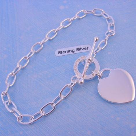 STERLING SILVER TOGGLE CLASP 19mm HEART CHARM BRACELET