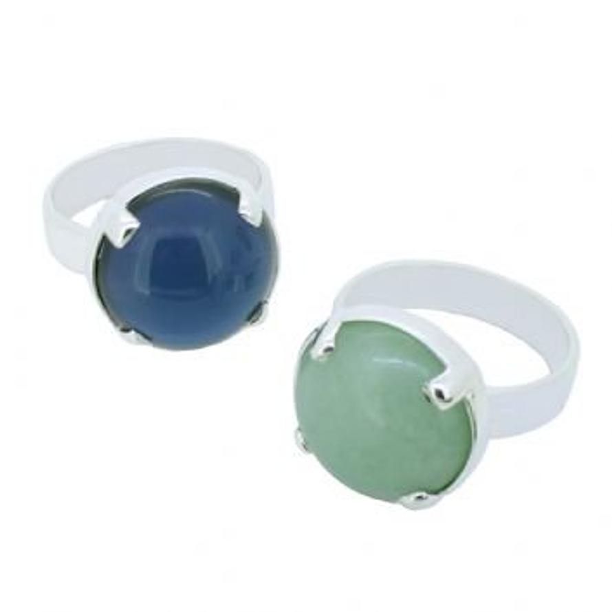STERLING SILVER 16mm 4 claw SEMI PRECIOUS GEMSTONE COCKTAIL DESIGNER DAY NIGHT RING