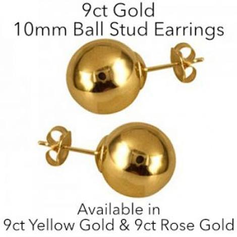 9CT GOLD 10mm BALL STUD DESIGN EARRINGS