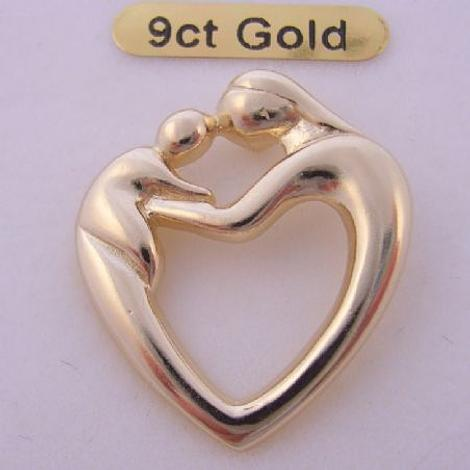 9CT GOLD 23mm MOTHER AND BABY CHILD CHARM PENDANT