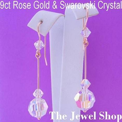 9CT ROSE GOLD SWAROVSKI CRYSTAL DROP DESIGNER HOOK EARRINGS