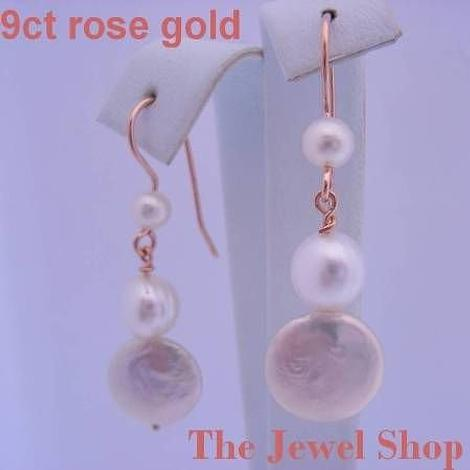 9CT ROSE GOLD ANTIQUE DROP DESIGN COIN PEARL EARRINGS