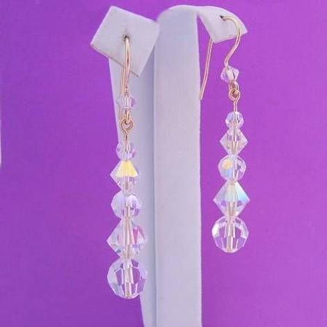 9CT YELLOW GOLD SWAROVSKI CRYSTAL BRIDE HOOK EARRINGS