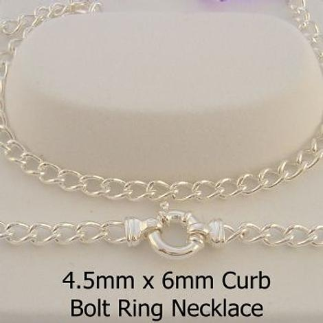 STERLING SILVER 4.5mm CURB BOLT RING NECKLACE CHAIN