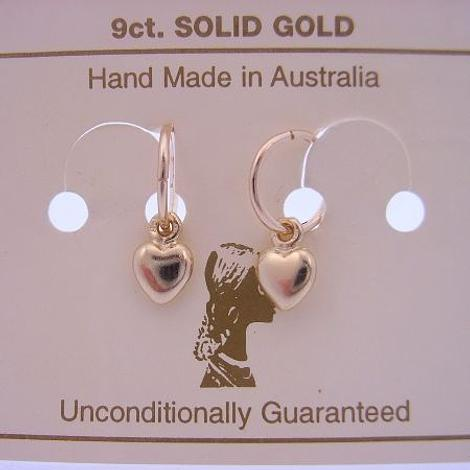 9CT YELLOW GOLD 8mm SLEEPER EARRINGS WITH 6mm LOVE HEART CHARMS