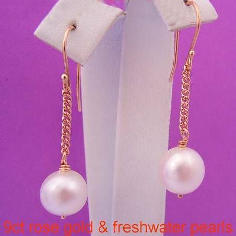 9CT ROSE GOLD 9mm FRESHWATER PEARL CHAIN DROP DESIGNER HOOK EARRINGS