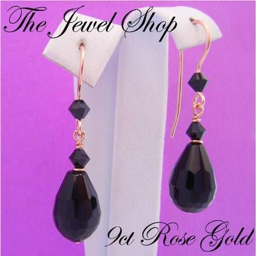 9CT ROSE GOLD BLACK AGATE & SWAROVSKI CRYSTAL FEATURE HOOK DESIGN EARRINGS