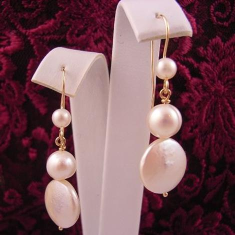 9CT YELLOW GOLD ANTIQUE EURO DESIGN COIN PEARL DROPS FEATURE PEARL HOOK DESIGN EARRINGS
