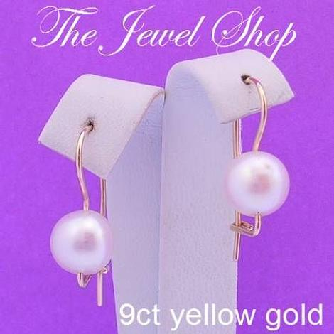 9CT YELLOW GOLD 9mm FRESHWATER PEARL EUROBALL DESIGNER EARRINGS