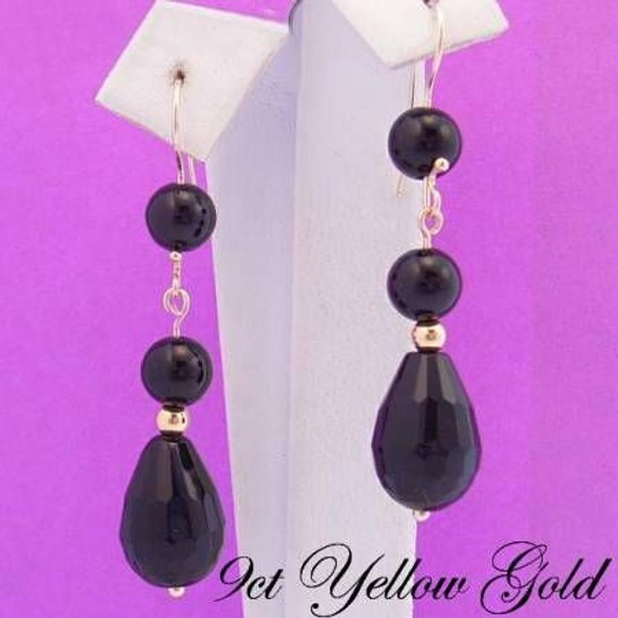 9CT YELLOW GOLD TEARDROP BLACK AGATE & 9CT BALL FEATURE HOOK DESIGN EARRINGS