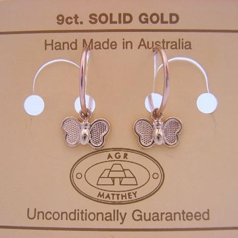 9CT YELLOW GOLD 10mm SLEEPER EARRINGS WITH 10mm BUTTERFLY CHARMS
