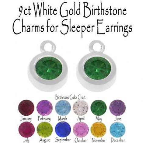 9CT WHITE GOLD BIRTHSTONE CHARMS FOR SLEEPER EARRINGS