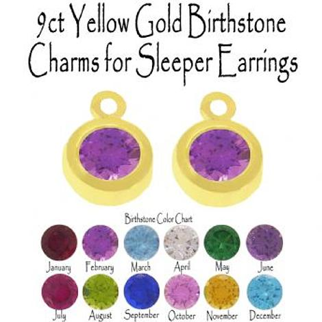 9CT YELLOW GOLD BIRTHSTONE CHARMS FOR SLEEPER EARRINGS