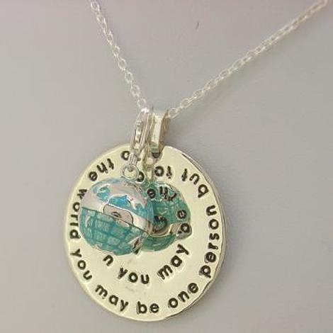 TO THE WORLD MESSAGE COIN GLOBE WORLD NECKLACE