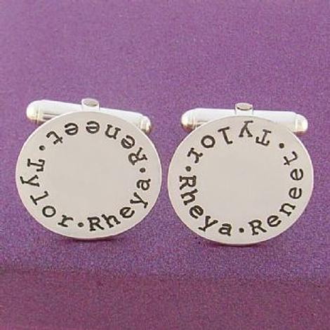 STERLING SILVER 19mm ROUND PERSONALISED CUFFLINKS -CL-19mm-RND