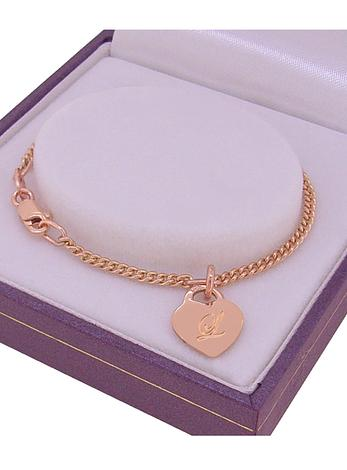 9CT ROSE GOLD 9.5mm HEART TAG CHARM CURB BABY CHILD BRACELET
